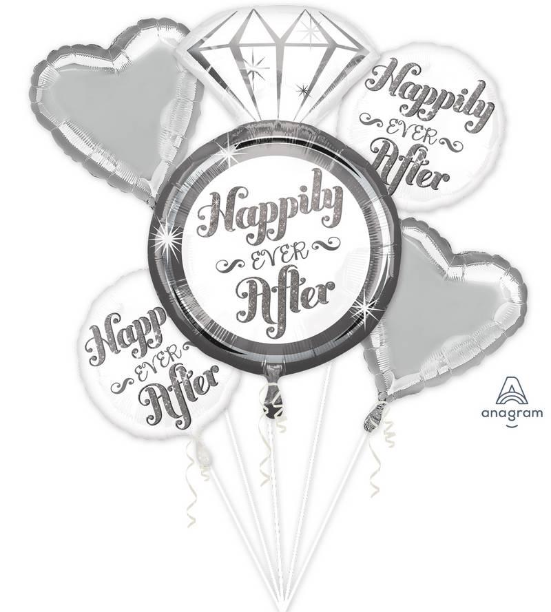 White /& Silver Black Anagram BEST WISHES Foil Balloon Bouquet